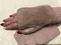 Митенки с натуральной мехом кролика цвет бежево-персиковый