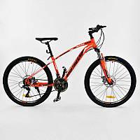 """Велосипед Спортивный CORSO AIRSTREAM 26""""дюймов ORANGE-BLACK рама металлическая 17, 21 скорость"""