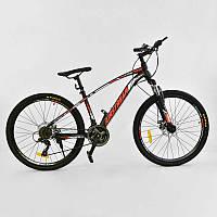 """Велосипед Спортивный CORSO AIRSTREAM 26""""дюймов BLACK-RED  рама металлическая 17``, 21 скорость"""