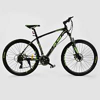 """Велосипед Спортивный CORSO ATLANTIS 27,5""""дюйма BLACK-GREEN рама алюминиевая 19``, 24 скорости"""