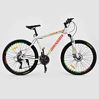 """Велосипед Спортивный CORSO DRAGON 26""""дюймов WHITE-ORANGE рама алюминиевая 17``, 21 скорость"""