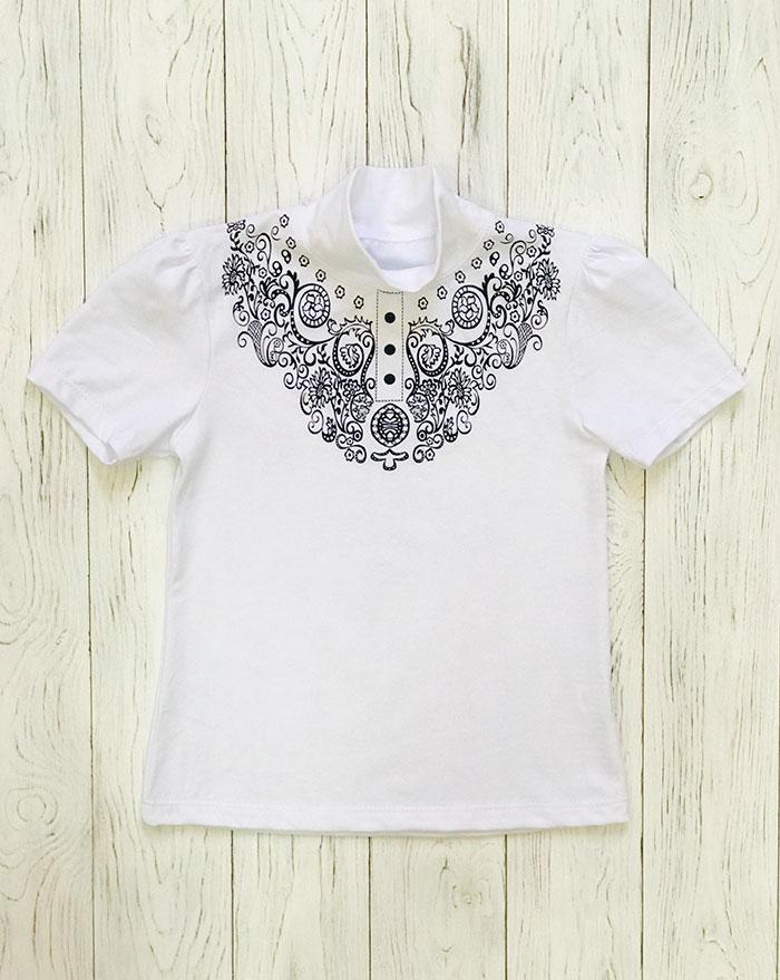 Блуза школьная для девочки с коротким рукавом Вензеля