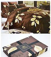Постельное белье фанель байка  Bayun полуторного размера листья на коричневом фоне
