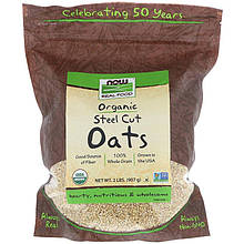 """Органический резаный овес NOW Foods, Real Food """"Steel Cut Oats"""" (907 г)"""