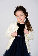 Куртки Стильная  Демисезонная Куртка Для Девочки Нежно-Молочного Цвета , ТМ МОНЕ,Украина