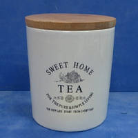 """Банка для чая """"Глазурь"""" с бамбуковой крышкой 900мл 11.5*11.5*14см"""