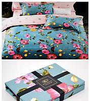 Постельное белье фанель байка Bayun полуторного размера Розовые цветы на голубом фоне