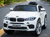 Детский электромобиль БМВ Х6 BMW X6 белый (черный, красный). JJ2199EBR-1. Колеса EVA, кож. сидение, свет, USB.