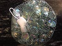 Камни для декора стеклянные круглые прозрачные  перламутровые капли d 1,8 см