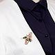Брошь-булавка мушка фианиты эмаль позолота, фото 4