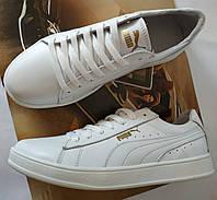 Puma classic ! Стильные кроссовки кеды женские из белой  натуральной кожи в стиле пума !