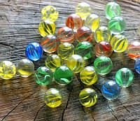 Камни для декора шарики прозрачные с рисунком Волна цветные d 1,5 см.500 гр.