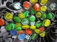 Камни для декора круглые плоские малые прозрачные с рисунком d 2 см