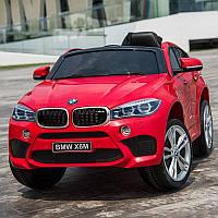 Детский электромобиль БМВ Х6 BMW X6 красный (белый, черный). JJ2199EBR-3. Колеса EVA, кож. сидение, свет, USB.