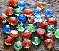Камни для декора круглые плоские малые прозрачные Волна d 2 см.405г