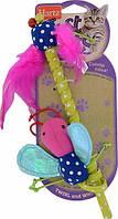 Удочка с перьями и мягкой игрушкой пчела, мышка с кошачьей мятой Hartz Just For Cats Twirl and Whirl Cat Toy