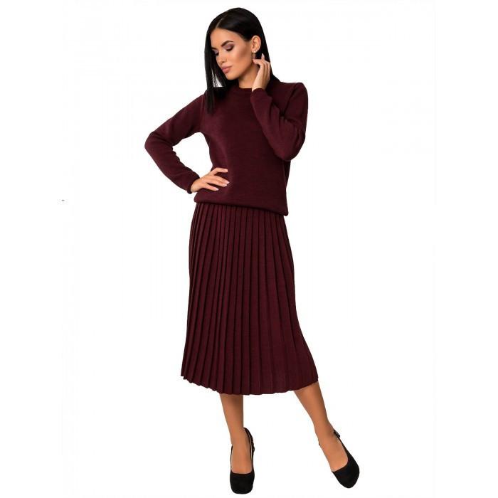 Вязаный костюм с юбкой плиссе 42-44-46 размер