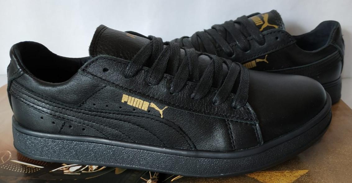 Puma classic! кроссовки кеды в стиле пума детские из черной  натуральной кожи для девочек и мальчиков! унисекс