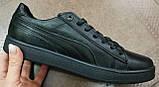 Puma classic! кроссовки кеды в стиле пума детские из черной  натуральной кожи для девочек и мальчиков! унисекс, фото 3