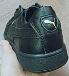 Puma classic! кроссовки кеды в стиле пума детские из черной  натуральной кожи для девочек и мальчиков! унисекс, фото 7