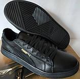 Puma classic! кроссовки кеды в стиле пума детские из черной  натуральной кожи для девочек и мальчиков! унисекс, фото 8