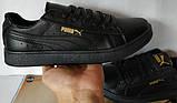 Puma classic! кроссовки кеды в стиле пума детские из черной  натуральной кожи для девочек и мальчиков! унисекс, фото 6