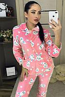 Пижама женская розовая махровая