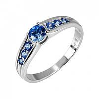 Кольцо с синими камнями Swarovski  Халлари