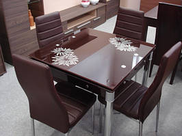 Скляний кухонний стіл gd-082 (10 кольорів) 80х80см
