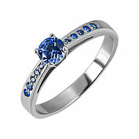 Классическое кольцо с синими камнями Swarovski Франческа