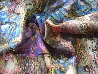 Ткань шелковая, набивка абстракция