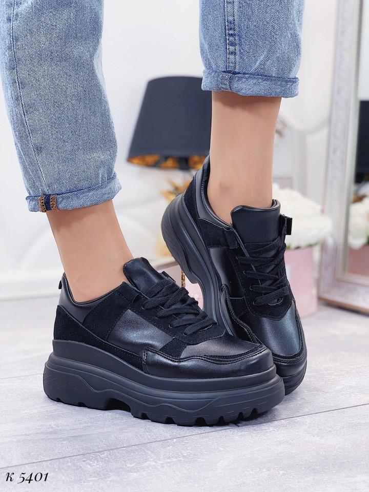 Женские кроссовки черные эко-замша + эко-кожа подошва 7 см