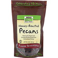 """Жаренные орехи пекан в меду NOW Foods, Real Food """"Honey Roasted Pecans"""" (227 г)"""