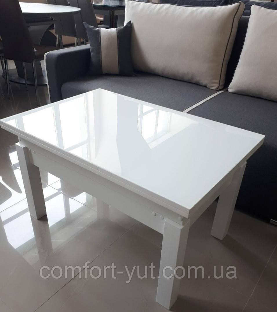 Стол трансформер Флай  белый  со стеклом ультрабелый, журнально-обеденный