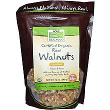 """Органические сырые грецкие орехи NOW Foods, Real Food """"Certified Organic Raw Walnuts"""" не соленые (340 г)"""