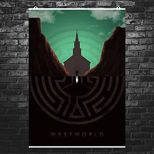 """Постер """"Мир Дикого запада, отражение"""", Westworld. Размер 60x43см (A2). Глянцевая бумага"""