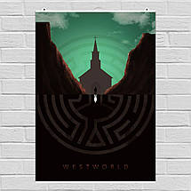 """Постер """"Мир Дикого запада, отражение"""", Westworld. Размер 60x43см (A2). Глянцевая бумага, фото 3"""