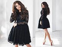 Гипюровое платье женское - Черный