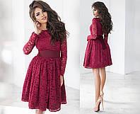 Гипюровое платье женское - Бордовый, фото 1