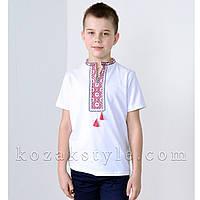 Вишиванка трикотажна для хлопчика біла з червоною вишивкою, фото 1