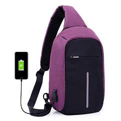 Сумка через плече Mark Ryden с USB разъёмом. Мини рюкзак Mark Ryden. Фиолетовый (пурпурный)