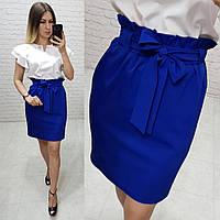 Новинка! Стильная юбка с поясом, арт 174, цвет электрик
