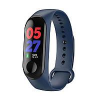 Фитнес браслет Smart Band M3 синий. Давление, трекер сердечного ритма, пульс. Фитнес трекер. Шагомер. Часы.