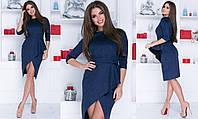 Замшевое платье женское - Синий, фото 1