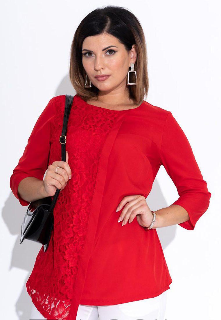 Красная блузка с гипюром. Размер 50