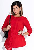 Красная блузка с гипюром. Размер 50, фото 1