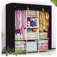 Складной тканевый шкаф, шкаф для одежды Storage Wardrobe 88130 на 3 секции (выбор цвета) Черный