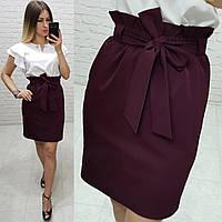 Новинка! Стильная юбка с поясом, арт 174, цвет марсала