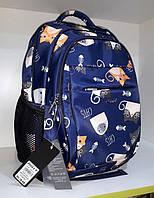 """Рюкзак школьный ортопедический для девочки синий яркий с модным принтом """"Котята"""" Dolly 538"""
