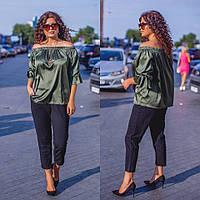 Костюм стильный двойка (блуза + брюки)  в расцветках